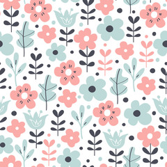 Seamless pattern with flowers and leaves. Vector floral background. © nataliajudina