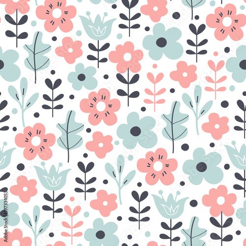 Seamless pattern with flowers and leaves. Vector floral background.