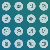Multimedia icons line style set with categories, film reel, play and other play  elements. Isolated vector illustration multimedia icons. - 197334855