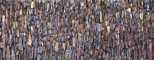 Panoramic vertical stones wall