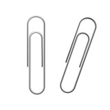 Paper clip vector. Realistic metal paper clip icon. Flat isolated vector illustration on a white background. - 197336269