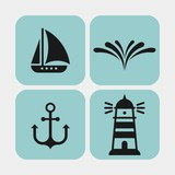 Sea vacation flat vector icons set. Marine flat vector icons set. Yacht, ship, splash of water, water, anchor, lighthouse