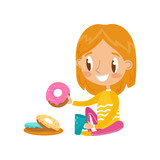 Cute redhead girl sitting on the floor and eating donut vector Illustration on a white background