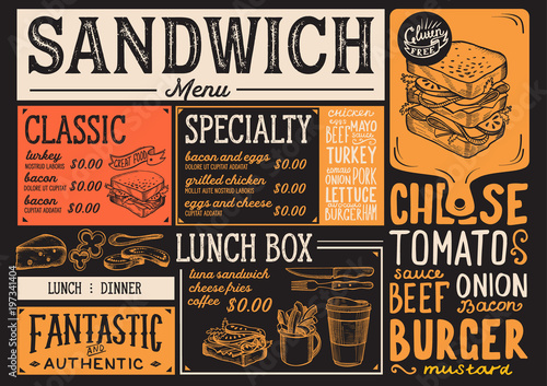 Sandwich Restaurant Menu Vector Food Flyer For Bar And Cafe Design Template With Vintage