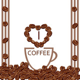 Coffee beans. Cup of coffee. Vector template for banners, posters, covers.