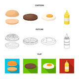 Burger and ingredients cartoon,outline,flat icons in set collection for design. Burger cooking vector symbol stock web illustration. - 197344244