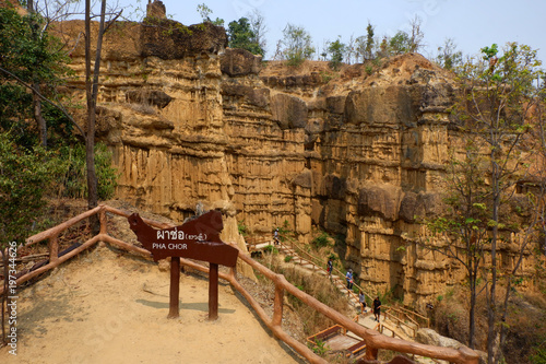 Fotobehang Bruin Pha Chor Cliff in Chiang Mai, Thailand.