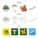 Pine, poisonous mushroom, tree, squirrel, saw.Forest set collection icons in cartoon,outline,flat style vector symbol stock illustration web.