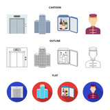 Elevator car, mini bar, staff, building.Hotel set collection icons in cartoon,outline,flat style vector symbol stock illustration web. - 197345033