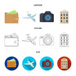 Vacation, travel, wallet, money .Rest and travel set collection icons in cartoon,outline,flat style vector symbol stock illustration web.