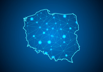 Abstract mash line and point scales on dark background with Map of poland. Wire frame 3D mesh polygonal network line, design sphere, dot and structure. communications map of poland. Vector.