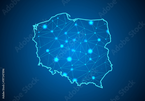 Naklejka Abstract mash line and point scales on dark background with Map of poland. Wire frame 3D mesh polygonal network line, design sphere, dot and structure. communications map of poland. Vector.