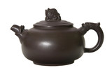 Chinese clay teapot isolated over the white background.