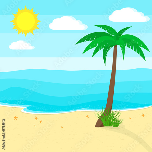 Keuken foto achterwand Turkoois Ocean and beach. Vector illustration. Travel or vacation concept