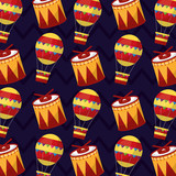 carnival show festive drum and air balloon pattern vector illustration - 197355015