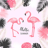 Summer tropical vector illustration with watercolor flamingo and palm leaves.