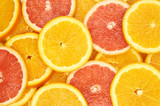slices of oranges and slices of grapefruit