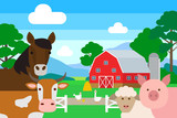 farm animals .horse cow pig sheep poultry - 197370886