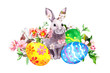 Easter bunny and colored eggs, grass, flowers. Watercolor