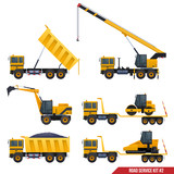 A set of construction machinery, road service cars, cars designed for road construction.
