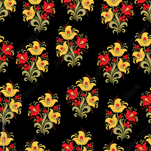 Abstract stylized flower seamless pattern, vector background. Red, yellow, green decorative flower, berries and curls on a black backdrop. For fabric design, wallpapers, wrappers, textiles, decorating