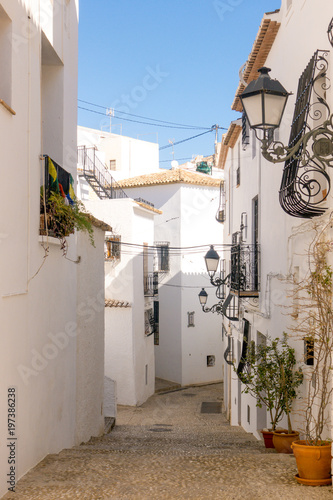 View to beautiful old town street in Altea, Spain © vejaa