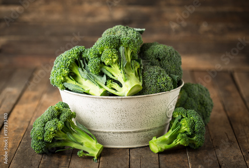 Fresh broccoli in the bowl  - 197393410
