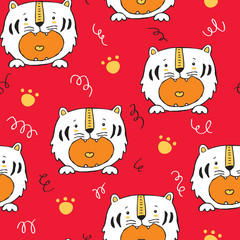 Vector seamless background pattern with baby tiger and paws