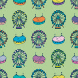 Seamless Pattern with Circus and Ferris Wheel