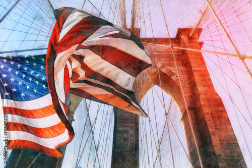 Fotobehang New York United States Flag at top of Brooklyn Bridge. There is a deep blue sky on background, on foreground there are all the wires of the bridge. Patriotism concept.