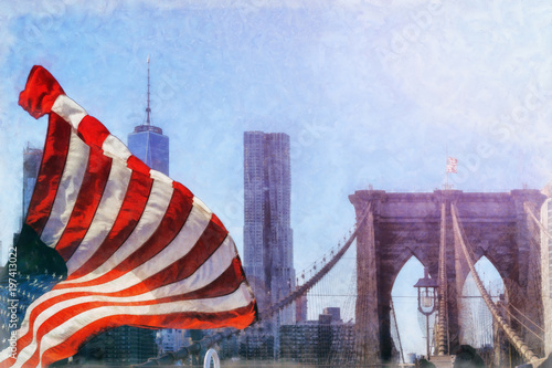 Foto op Aluminium New York The Brooklyn Bridge in New York City is one of the oldest suspension bridges in the United States. It spans the East River and connects the boroughs of Manhattan and Brooklyn together.