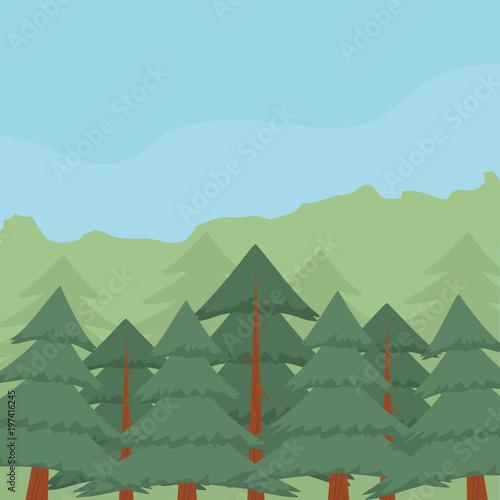 In de dag Olijf Forest landscape cartoon