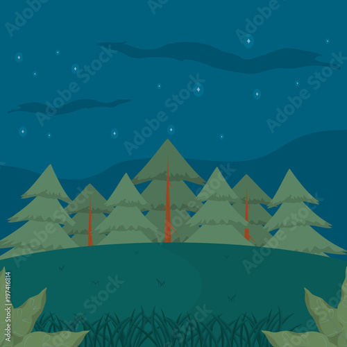 Fotobehang Groen blauw Forest landscape cartoon at night