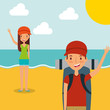 couple traveling vacation in the beach with backpack vector illustration