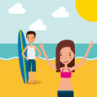 couple tourists traveling vacation on the beach vector illustration