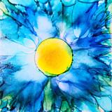 Blue Alcohol Ink Flower