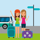 summer people baggage and car transport travelers vector illustration