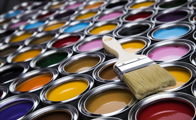 Open paint cans with a brush, Rainbow colors