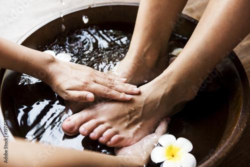 Leinwanddruck Bild Closeup of a foot spa