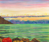 View on the sea shore with cliffs and rocks. Calm sea waves. Sunset clouds and distant horizon. Oil painting.