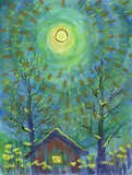 Winter moonlight night. Full moon is above the house. Sparkling beams are crossing the sky. Two trees are on the fpreground. Snow is everywhere. Watercolor painting and ink drawing on paper.