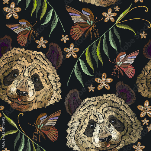 Embroidery panda head and butterfly seamless pattern. Fashion template for clothes, textiles, t-shirt design. Classical embroidery portrait of funny panda bear pattern