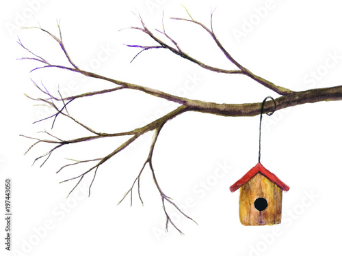watercolor birdhouse hanging on branch.isolated white background. © atichat