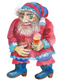 A fabulous dwarf, holding a glass of drink, a watercolor drawing - 197449648