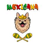 Chihuahua dog with sombrero and maracas. Mexicana text.  illustration.