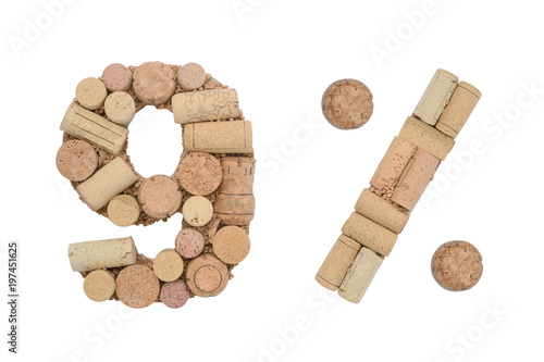 Poster Number nine 9%  percent made of wine corks Isolated on white background