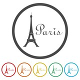 Paris Eiffel Tower Icon, 6 Colors Included