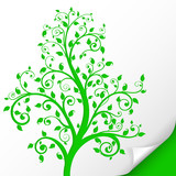 Decorative tree. Embossed green ornamental illustration. On paper sheet