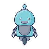 Cartoon little robot icon over white background, colorful design. vector illustration