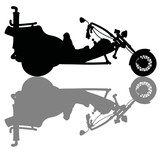 The black silhouette of a heavy motor tricycle - 197457655